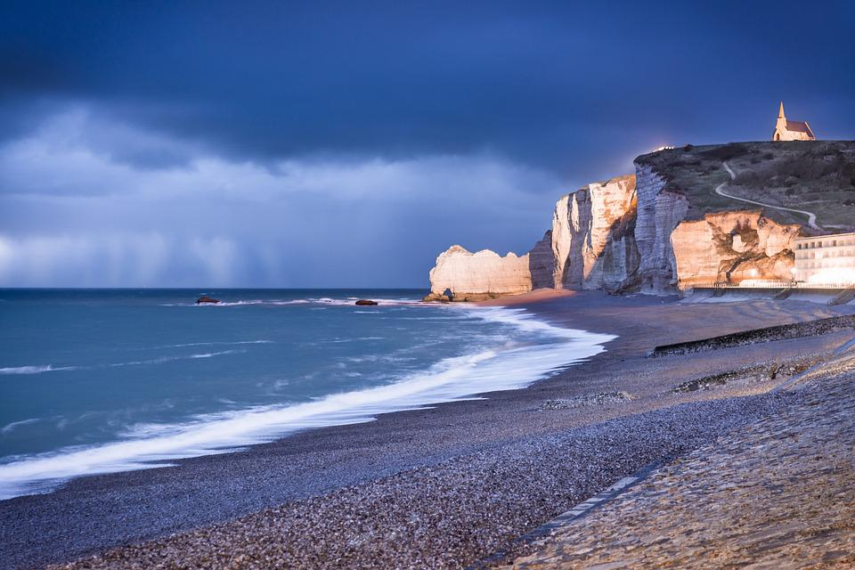 Etretat, Normandy, Beach, Cliff, Clouds, Water, Sunset