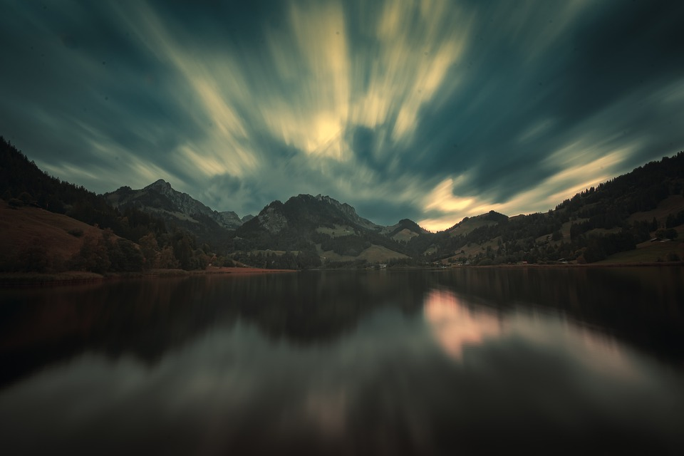 Long Exposure, Lake, Cloud, Clouds, Sky, Water