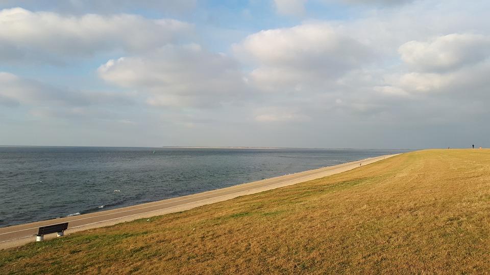 Sea, Coast, Water, Clouds, Netherlands, Bank, Seascape