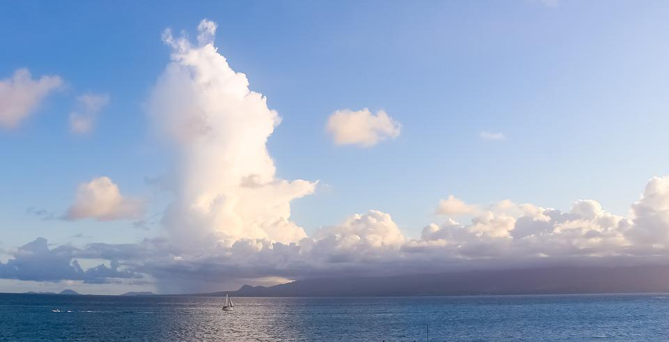 Guadeloupe, Sea, Sky, Cloud, Clouds, Color, Sun
