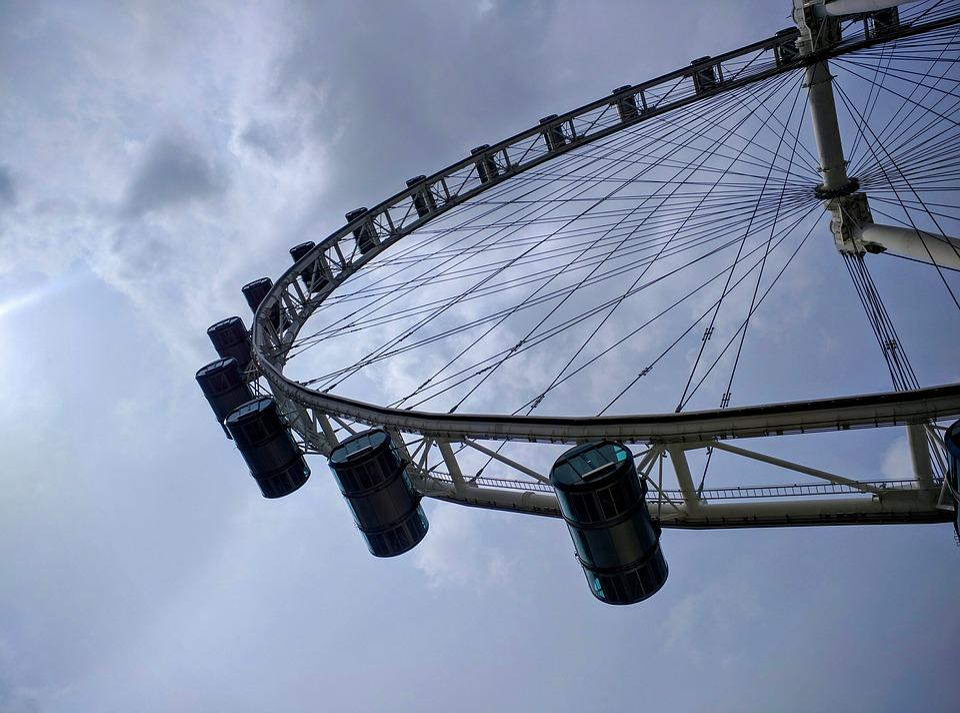 Wheel, Singapore, Clouds, Dark, Asia, Architecture