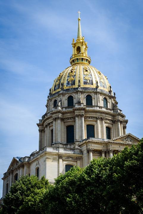 Monument, Paris, Blue Sky, Clouds, Dome, France, Museum
