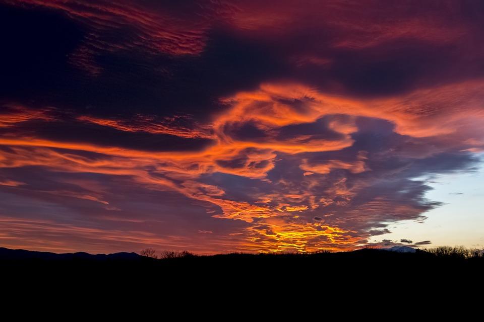 Abendstimmung, Afterglow, Sunset, Evening Sky, Clouds
