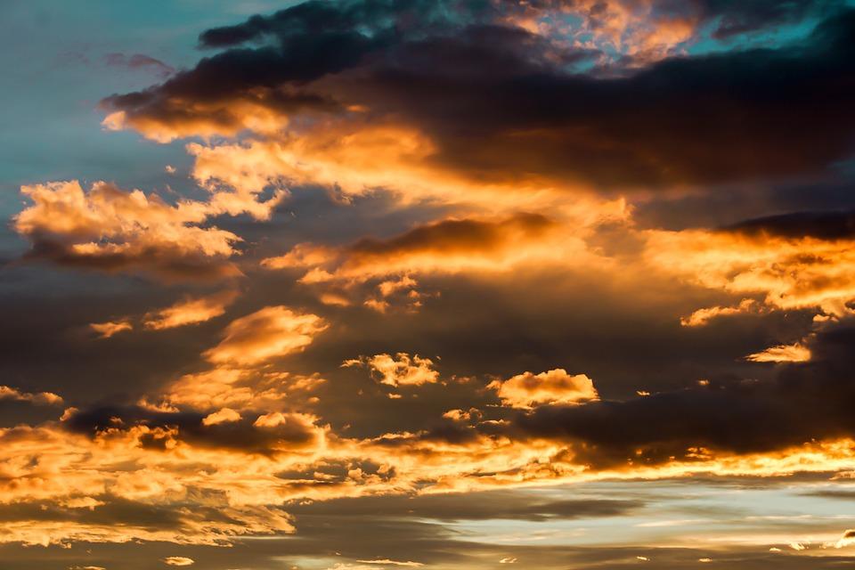 Evening Sky, Sky, Clouds, Shining, Sunset