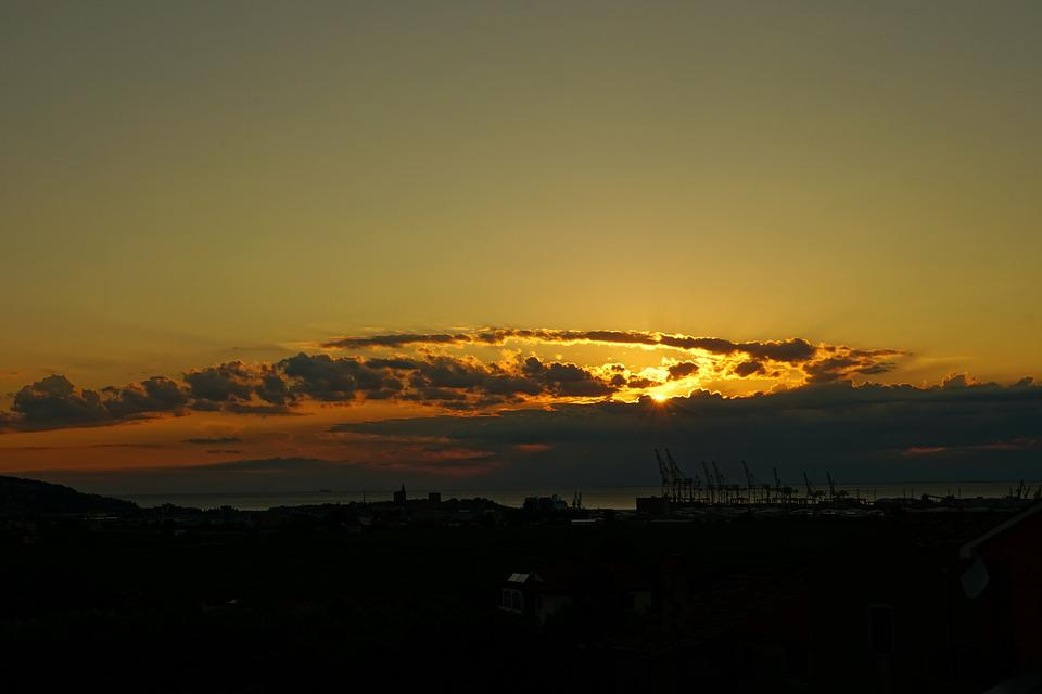 Sunset, Clouds, Evening Sky
