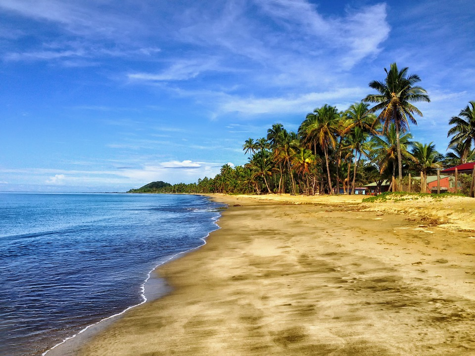 Fiji, Beach, Sand, Palm Trees, Tropics, Sky, Clouds