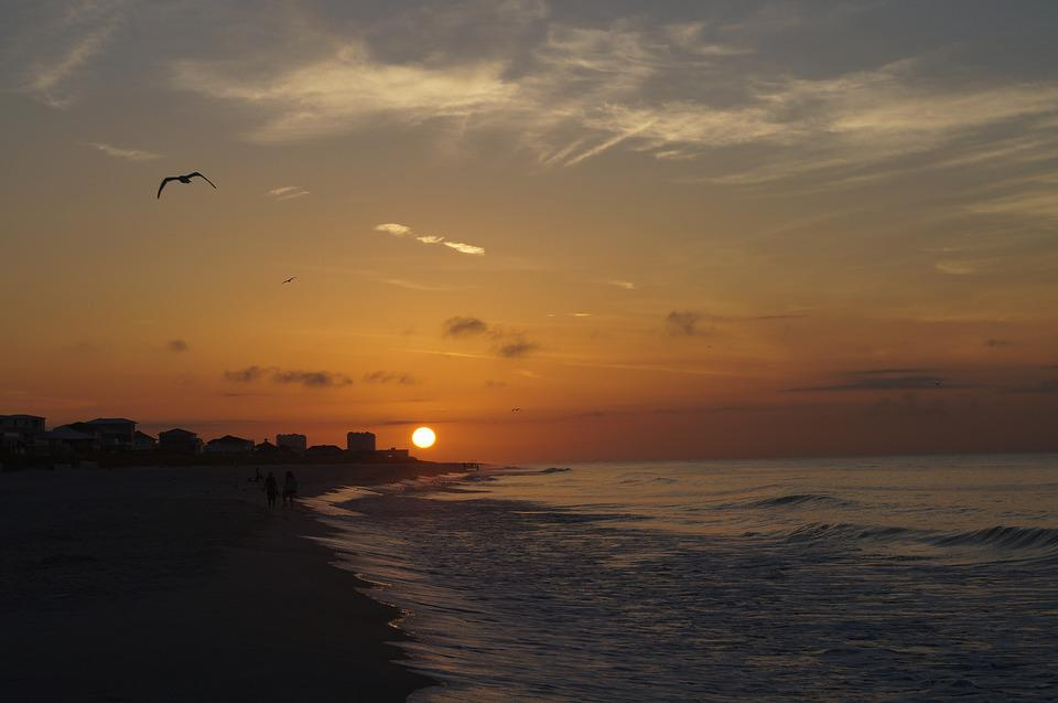 Sunrise, Beach, Florida, Dusk, Coast, Clouds, Ocean