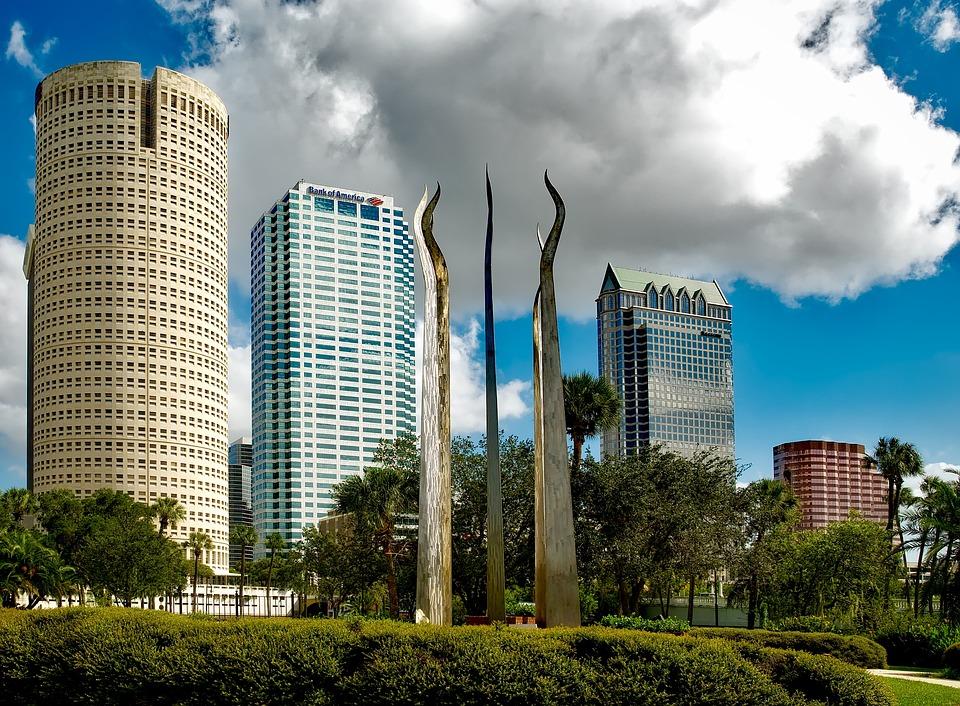 Tampa, Florida, Sky, Clouds, Buildings, Skyscrapers
