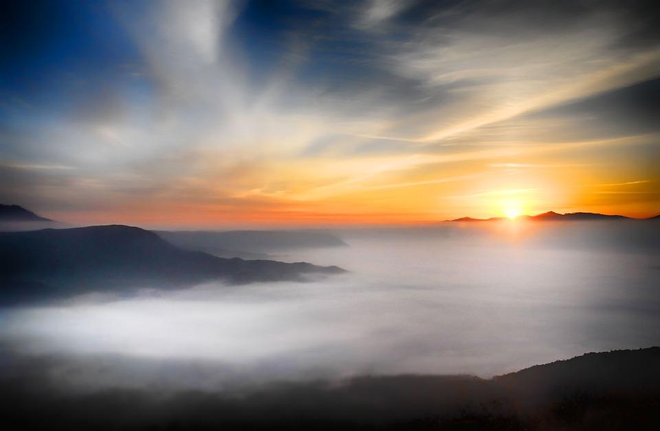 Clouds, Sunset, Fog, Mountains, Sea Of Clouds, Sunrise