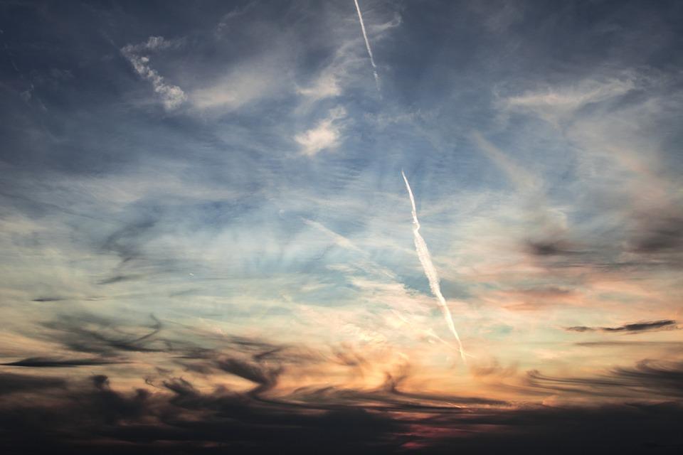 Sky, Clouds, Contrail, Blue, Clouds Form, Dark Clouds