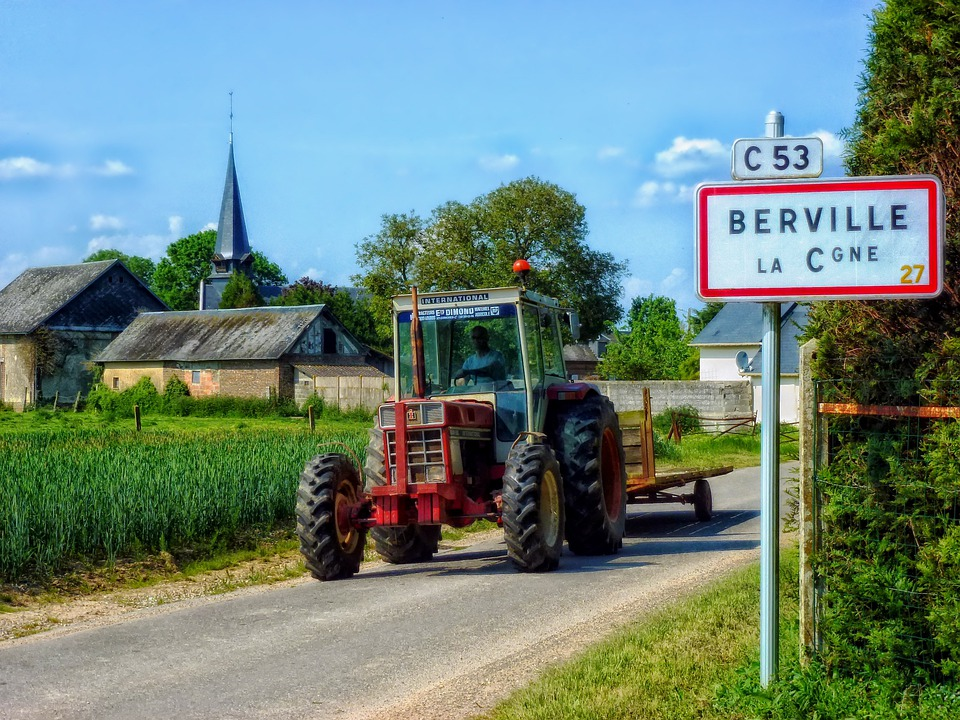 Berville, France, Sign, Road, Sky, Clouds, Fields