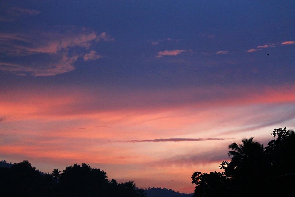 Landscape, Gampola, Silhouette, Sunset, Sky, Clouds
