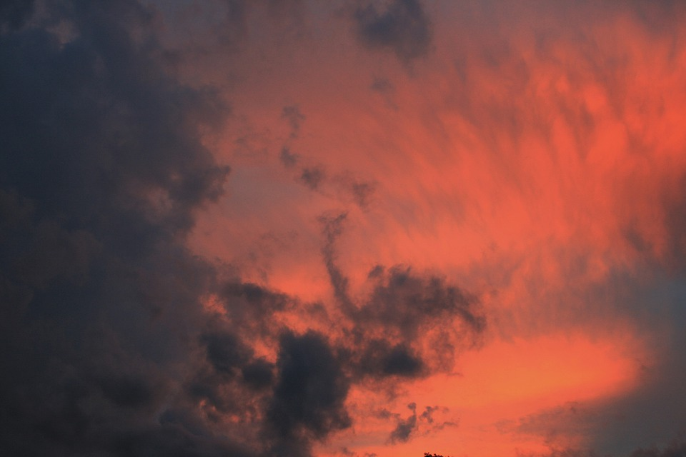 Sky, Sunset, Clouds, Rosy, Dark, Glowing
