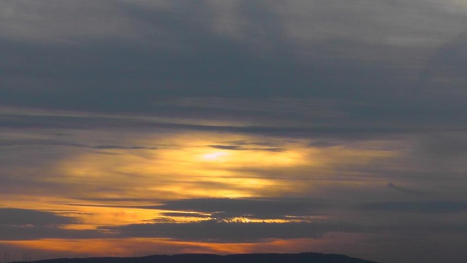 Evening, Clouds, Sonnenunetrgang, Golden, Atmosphere