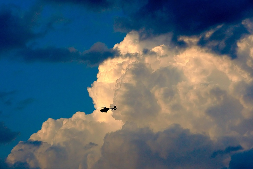 Helicopter, Clouds, Aviation