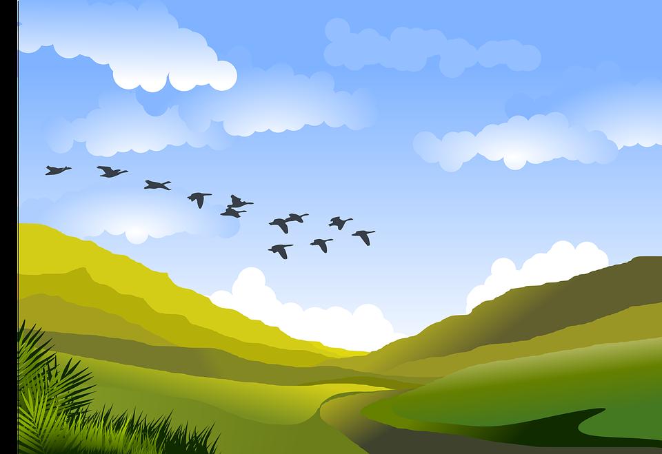 Landscape, Mountains, Clouds, Horizon, Hills, Green