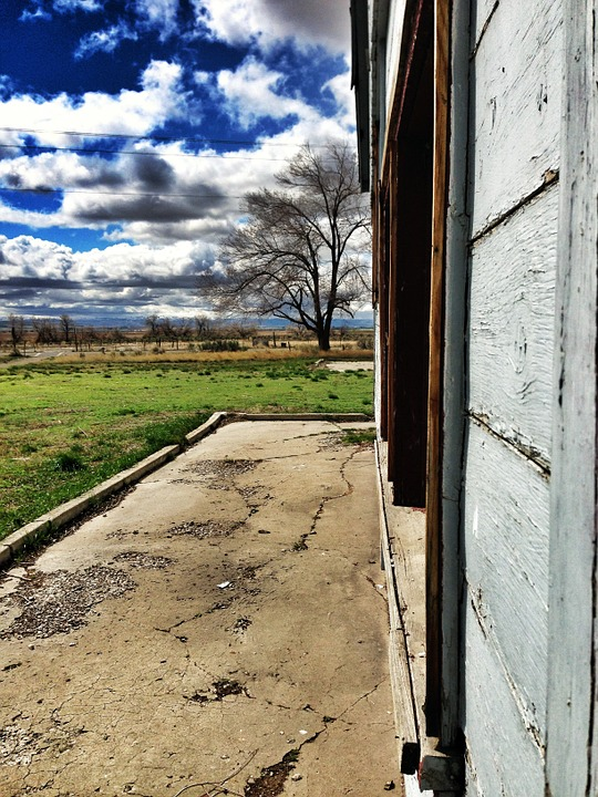 Building, Internment Camp, Minidoka, Idaho, Clouds, Sky