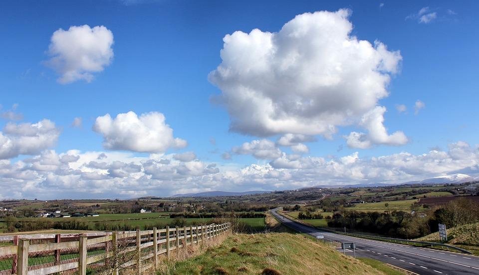 Ireland, Landscape, Road, Highway, Fence, Sky, Clouds