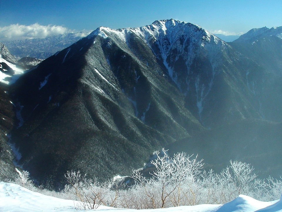 Japan, Mountains, Winter, Snow, Ice, Trees, Sky, Clouds