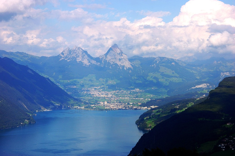 Lake, Lake Lucerne Region, Klewenalp, Mountains, Clouds