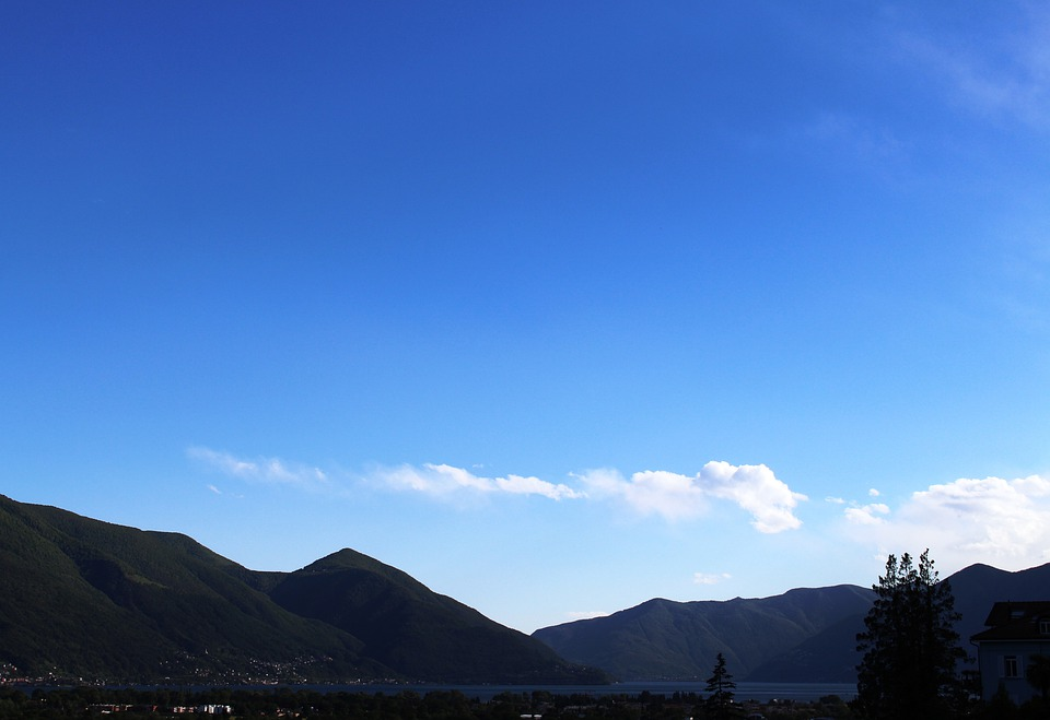 Panorama, Lake, Lago Maggiore, Mountains, Clouds, Sky