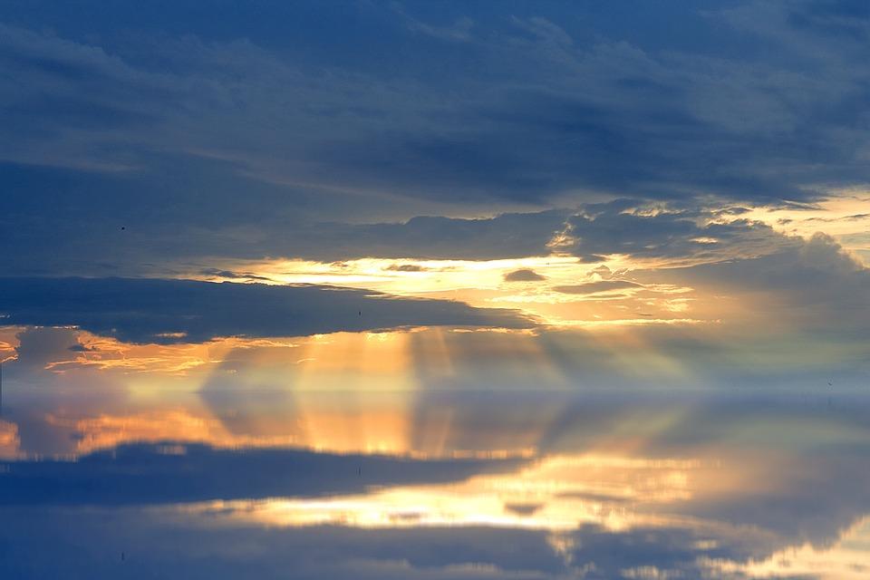 Lake, Sunbeam, Sunset, Clouds, Nature, Light, Yellow
