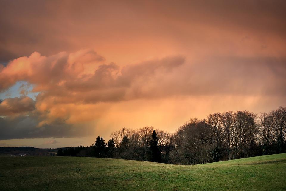 Dusk, Clouds, Afterglow, Sky, Nature, Landscape, Mood