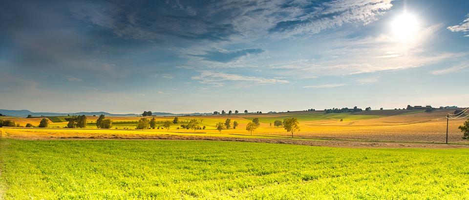 Landscape, Spring, Fields, Sunbeam, Clouds, Tree