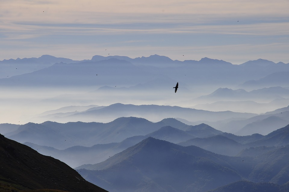 Mountains, Landscape, Morning, Clouds, Fog, Birds, Sky