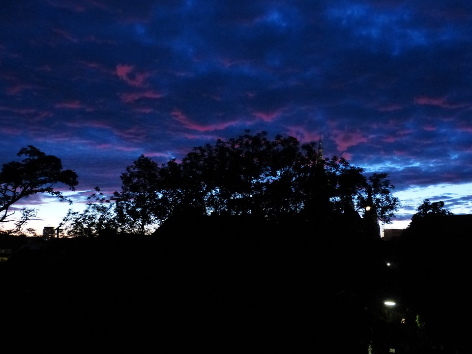 Clouds, Sky, At Night, Dark, Light, Reddish, Blue