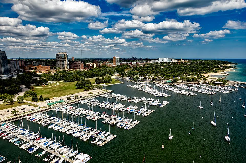 Milwaukee, Wisconsin, City, Urban, Sky, Clouds, Marina