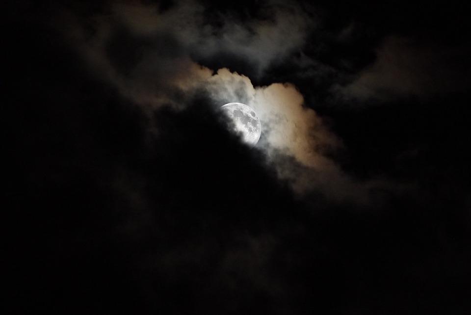 Night, Moon, Full Moon, Night Sky, Moonlight, Clouds