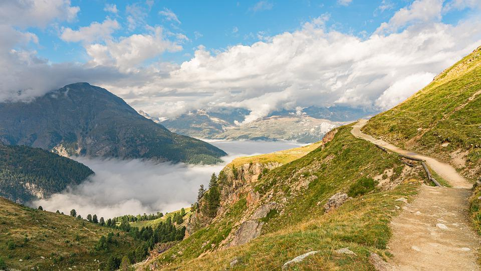 Mountains, Trail, Clouds, Alpine, Morning Mist, Sky