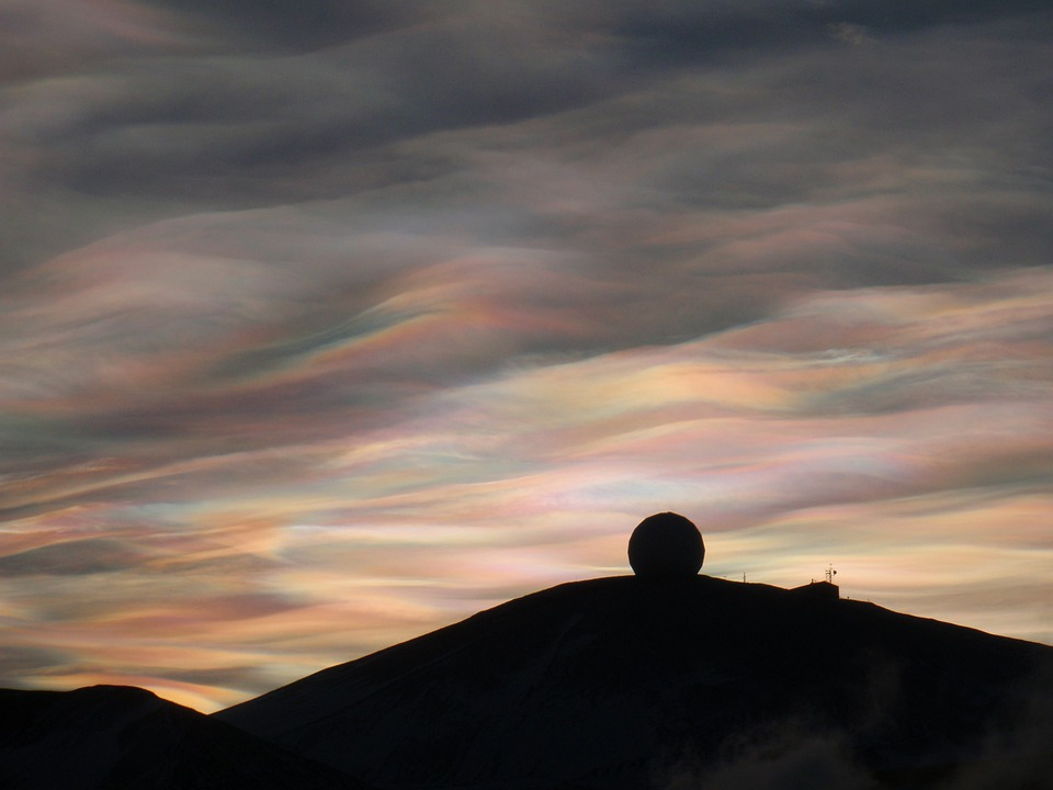 Nacreous, Clouds, Antarctica, Atmosphere, Cirrus