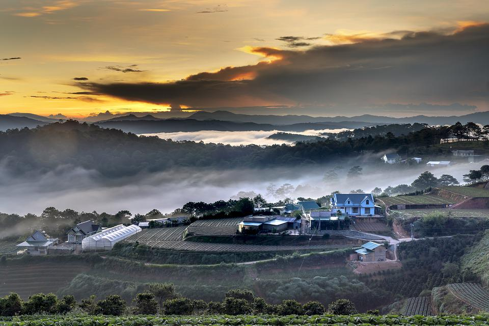 Dalat, Nice, Clouds, Town, Dawn, Fanciful, Natural