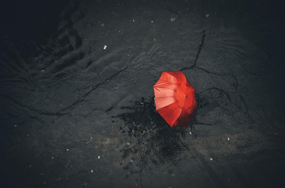 Rain, Monsoon, Red, Black, Umbrella, Nature, Clouds
