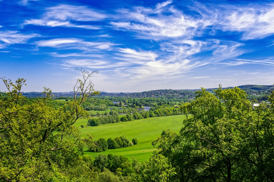 Landscape, Germany, Nature, Clouds, Green, Blue