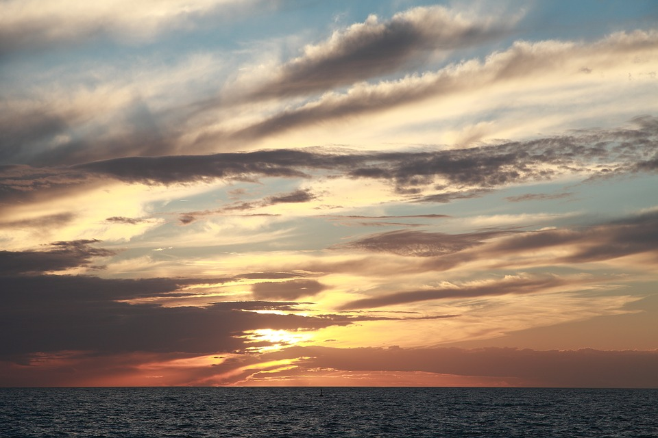 Sunset, Waters, Nature, Sun, Sky, Clouds