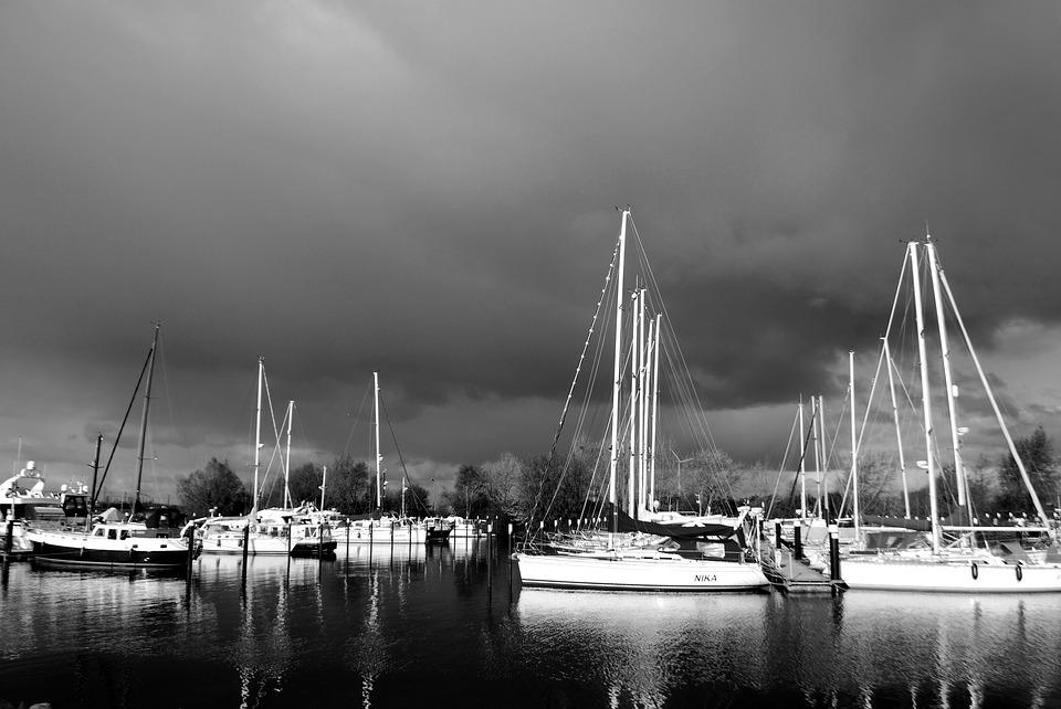 Storm, Boats, Lake, Netherlands, Water, Sky, Clouds