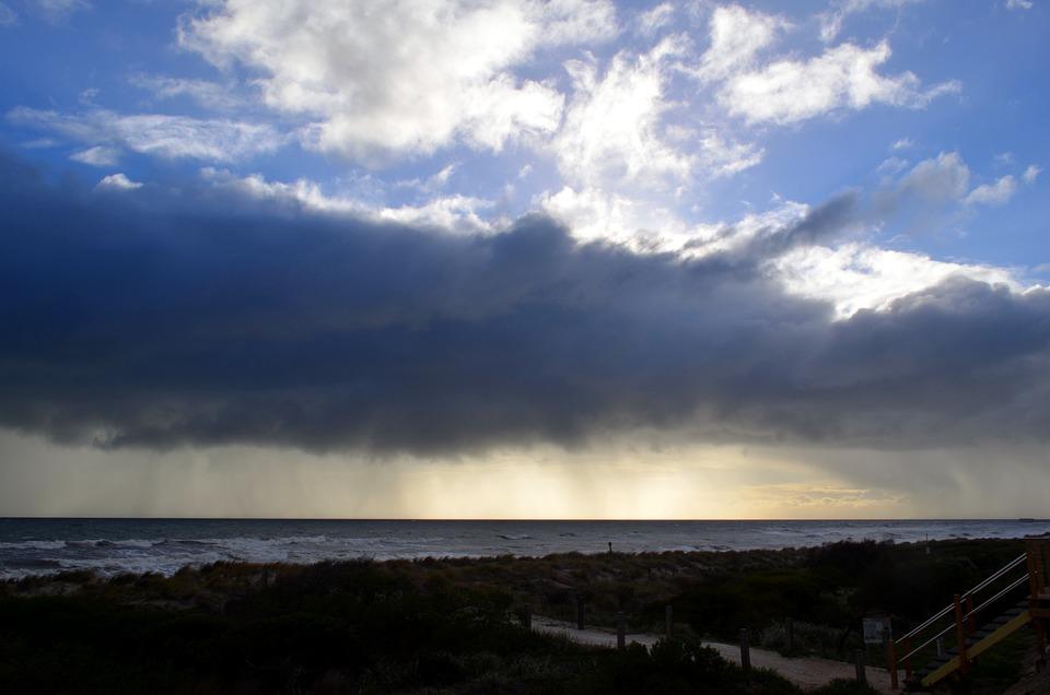 Rain, Clouds, Sunset, Beach, Ocean, Sky, Sea, Water