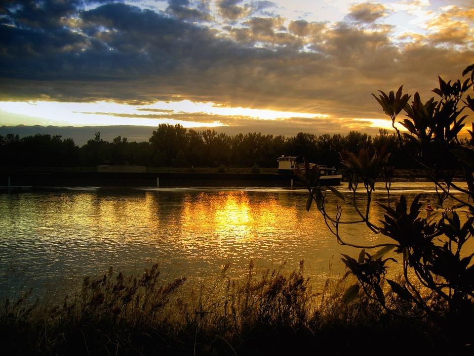 River, Beautiful, Sky, Clouds, Orange, Red, Still