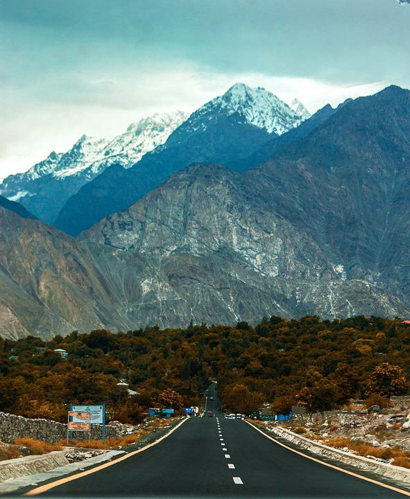 Road, Outdoor, Sky, Clouds, Mountain, Trees, Plants