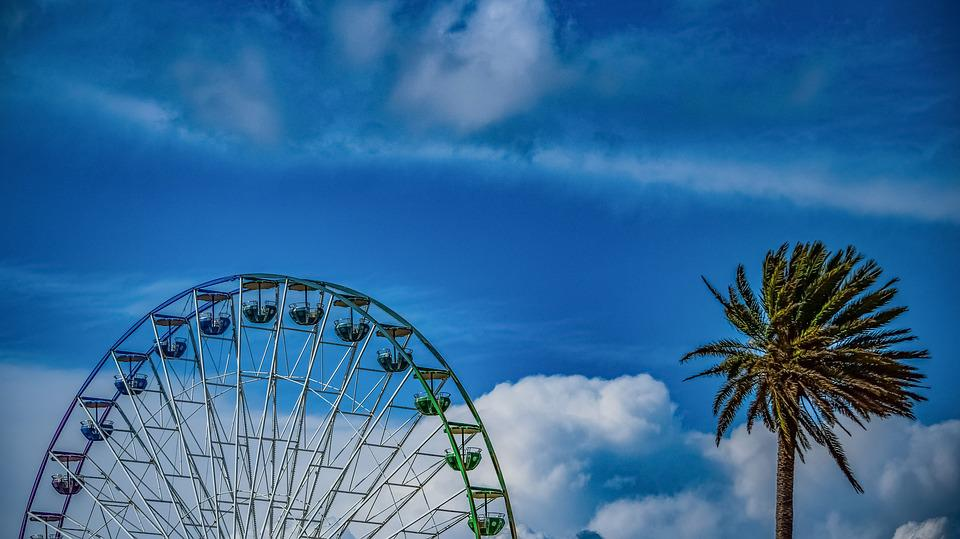 Wheel, Palm Tree, Luna Park, Sky, Clouds, Tourism