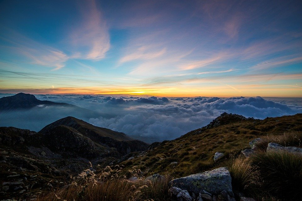 Dawn, Clouds, Panorma, Mombarone