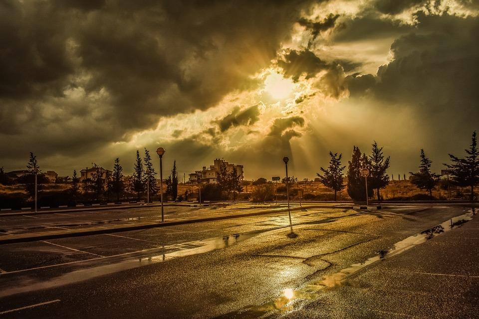 Parking Lot, Sunset, Sky, Clouds, Dramatic, Storm