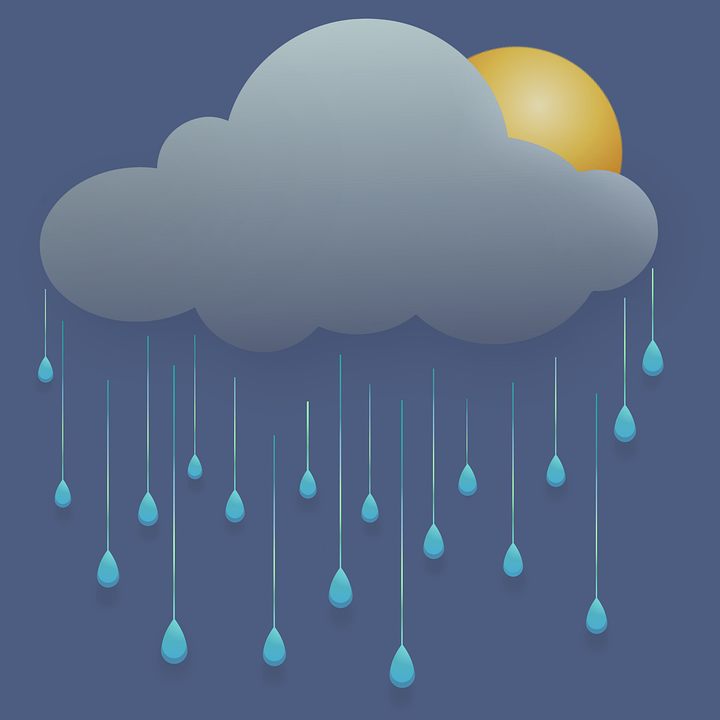 Cloudy, Rain, Drop, 3d, Weather, Clouds, Sun, Sunlight