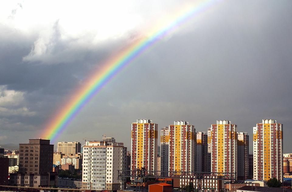 Rainbow, Rain, Sky, City, Weather, Colorful, Clouds