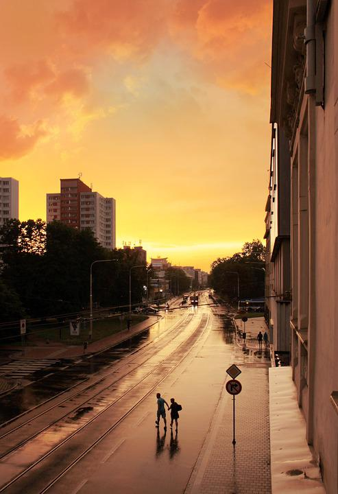 Ostrava, City, Rain, Wet, Dawn, Clouds, Heaven, Sky