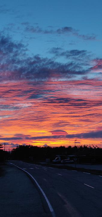 Sun, Clouds, Red, Sky, Scenic