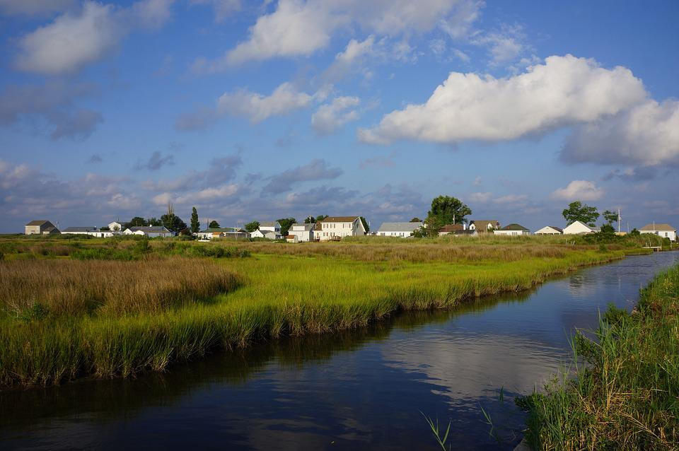 River, Town, Grass, Marshland, Clouds, Reflection